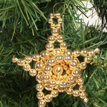 Beaded Star Christmas Ornament Gold tone beads Christmas decoration  - $15.64