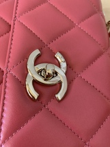 AUTH CHANEL QUILTED LAMBSKIN CORAL PINK TRENDY CC 2 WAY HANDLE FLAP BAG GHW image 12