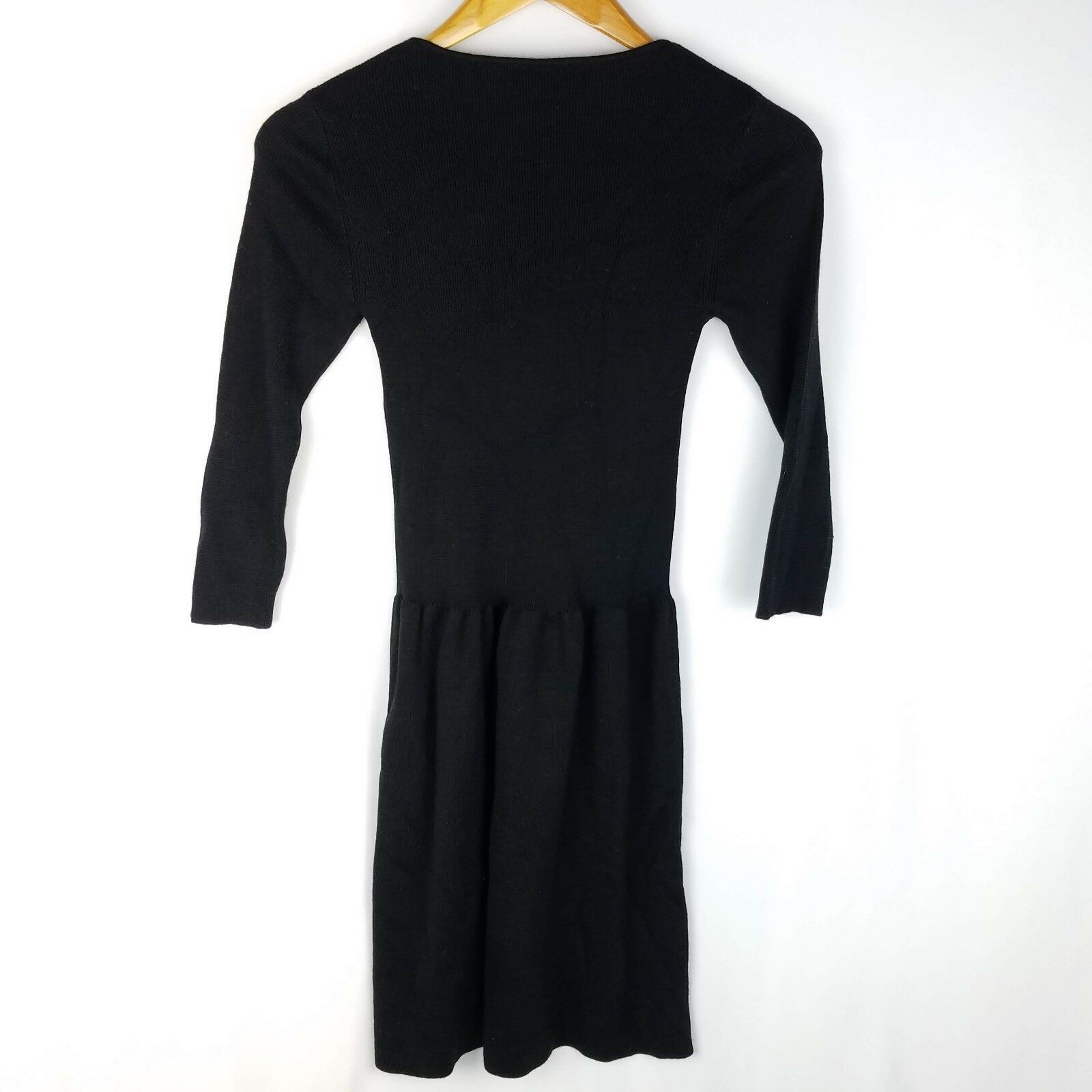Anne Klein Black Sweater Dress Womens Size S Small 3/4 Sleeve Stretch Short image 2