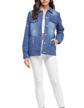 Women's Classic Casual Cotton Lightweight Distressed Denim Button Up Jean Jacket image 10