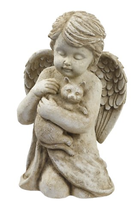 Grasslands Road Cherub with Cat, 7-Inch, Gift Boxed - $24.33