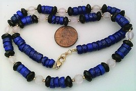 Lapis Black Onyx Rose Quartz Gemstone Necklace - $27.25