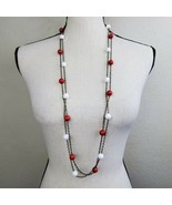 "Red & White Beaded Necklace Set of 2 Gold Tone Chain 38"" Long Fashion Je... - $19.99"