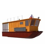 Houseboat Plans 21' DIY Pontoon House Boat Building Plan Build Your Own - $12.95