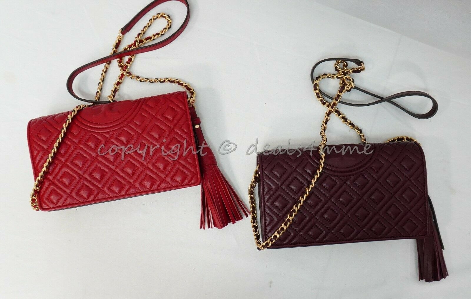 Primary image for NWT Tory Burch Fleming WOC/Wallet Crossbody Bag / Clutch in Claret and Red Apple