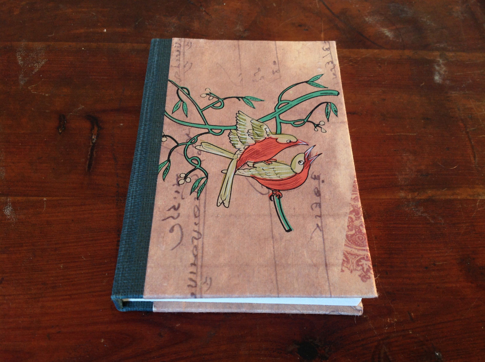 Asian Look Small Handcrafted Journal with Two Birds on Cover Blank Pages