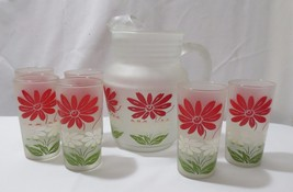 Vtg Anchor Hocking Pitcher and 6 Tumblers Frosted Glass Flowers Mid Century - $80.00