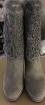 NWB! Micheal Kors Faye Rabbit Fur and Suede Mid Calf High Heel Booties S... - $195.00