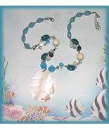 White Oval Abalone Shell Pendant Necklace Set Aqua Beads New - $19.99