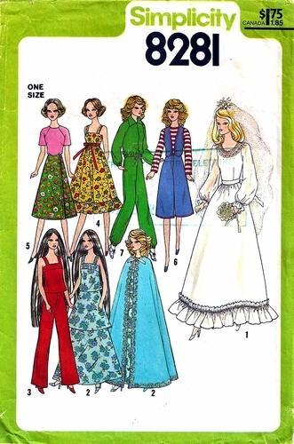 Simplicity 8281  11 1/2 inch Teen Doll Wardrobe Barbie or Farrah Cape Used