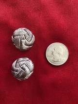 Vintage OSCAR DE LA RENTA Ornate Silver Tone Modernist Knot Clip Earrings - $14.62