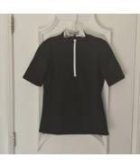 Stylish Women's Golf & Casual Short Sleeve Black Mock Polo, Rhinestone Z... - $29.95