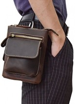 Men's Genuine Leather Waist Pack Cow Leather Messenger Bag Belt Bum Bag (brown3) - $38.85