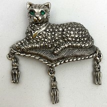 Vintage Marcasite Cat Brooch Pin Signed Avon Silver Tone Simulated Faux ... - $19.75