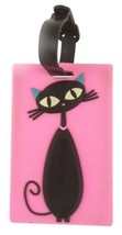 """Kids Schoolbag Travel Baggage Name Card Luggage Rubber Tags """"Cat"""" Black ... - $9.98"""
