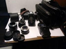 Pentax K1000 35mm SLR Film Camera with  lenses, Flash, Strap, case - $400.00