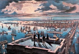 New York Harbor at Sunset by Nathaniel Currier - Art Print - $19.99+