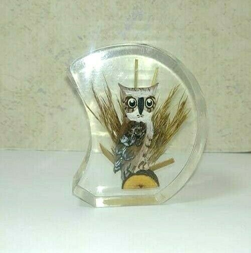 Primary image for Lucite 1970's Hand Wood carved Great Horned Owl Paperweight Unique Canada