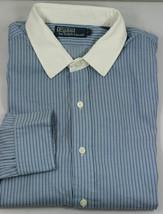 Polo Ralph Lauren Mens Shirt Gray Blue White XL Cotton White Collar - $56.08