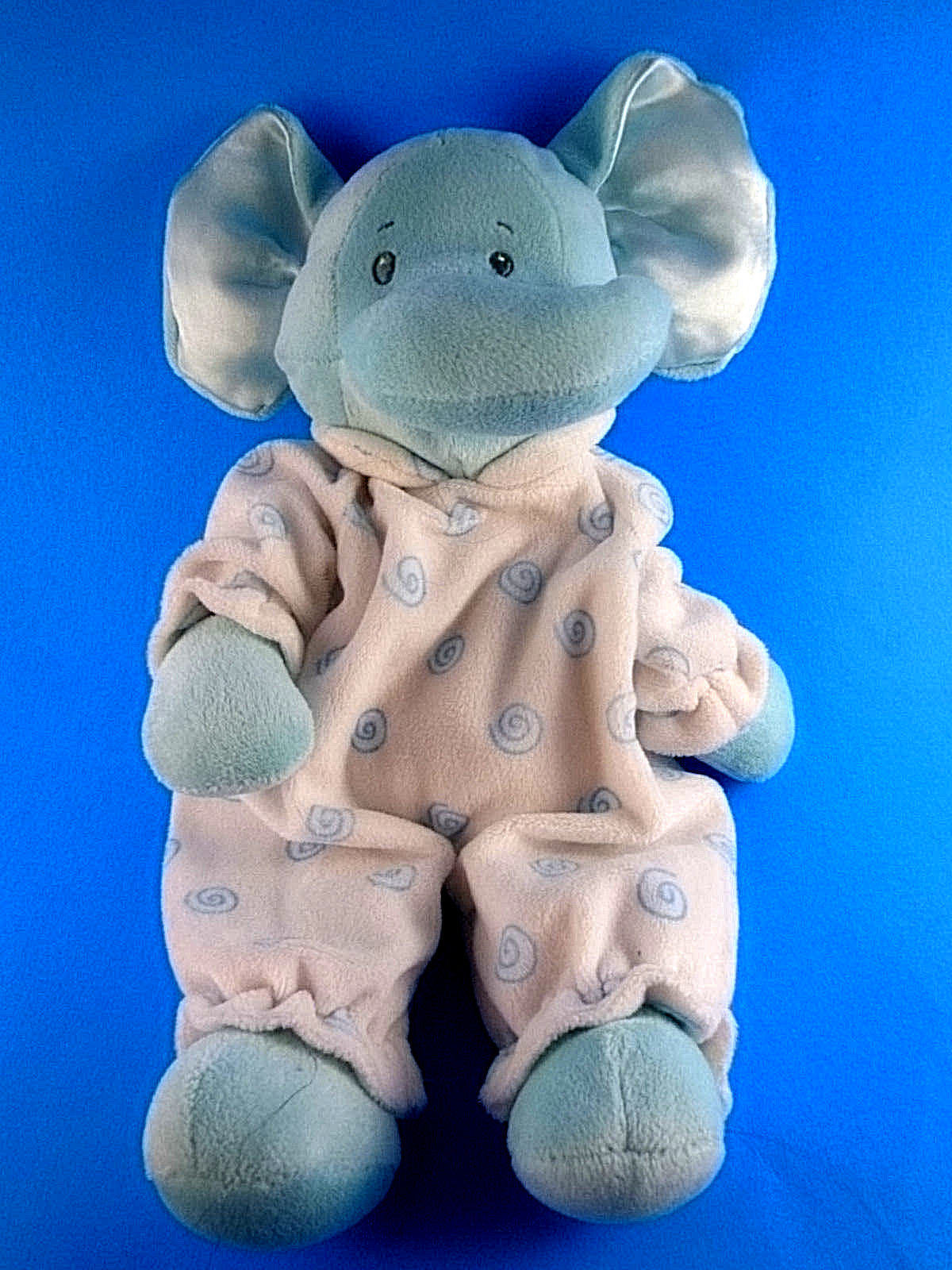"Primary image for Baby Ganz Blue Swirl Elephant Rattle Plush 12"" Satin Ears 1613 Very soft"