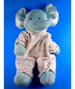 "Baby Ganz Blue Swirl Elephant Rattle Plush 12"" Satin Ears 1613 Very soft - $6.23"