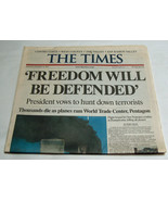 9/11 The Times September 12, 2001 'Freedom Will Be Defended' Bay Area Ne... - $24.73