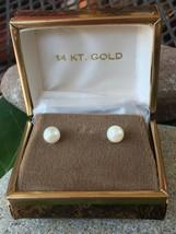 Vintage 14k Gold Cultured Pearl Stud Pierced Post Earrings w/ Original Box! - $96.70