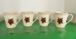 Merry Brite MBT1 Coffee Cup Mug (s) LOT OF 4 Holiday Christmas Red Poins... - $23.71