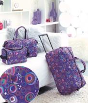 3 Piece Luggage Sets Wheeled Duffel Bag Travel Tote Bag Trendy Circles P... - $29.69