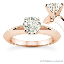 Round Cut Moissanite 14k Rose Gold Knife Edge 4-Prong Solitaire Engageme... - £405.67 GBP+