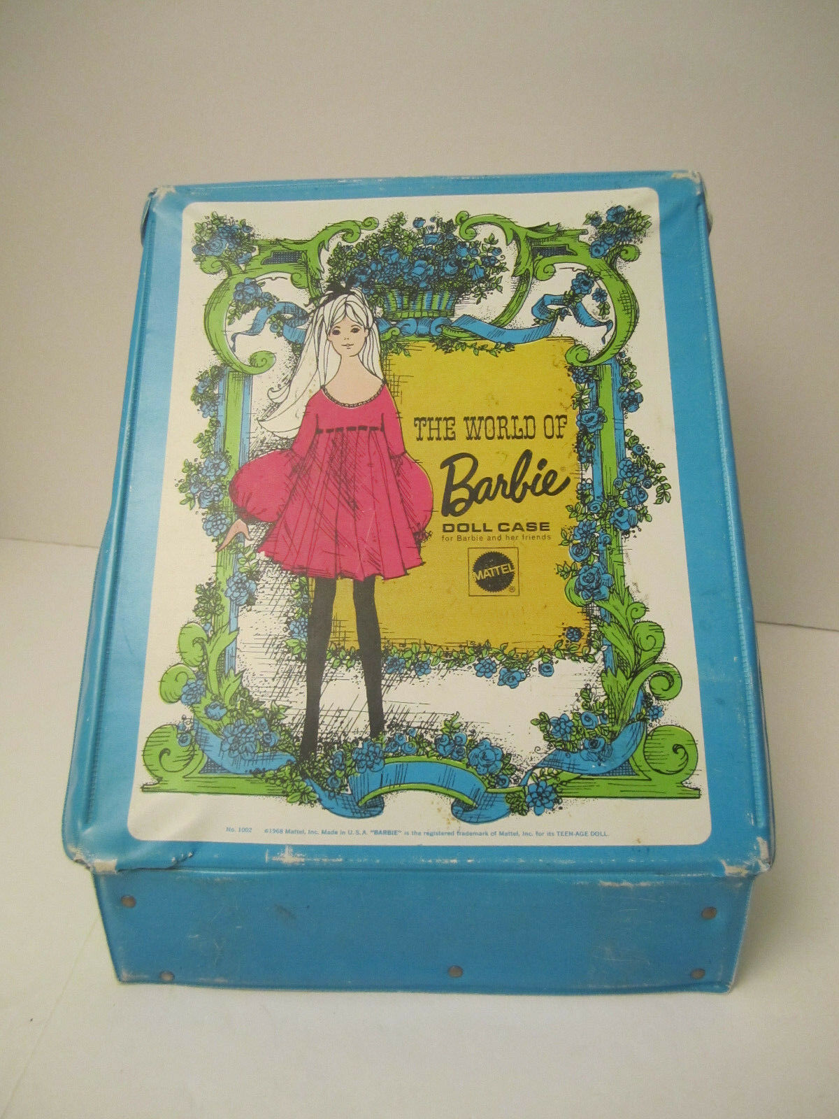 The World Of Barbie Doll Case 1002 Blue Vintage 1968 Doll Carrying Case image 3