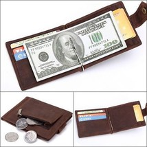 Men Crazy Horse Leather Snap Bifold Money Clip Credit Card Coin ID Magic Wallet  - $16.95