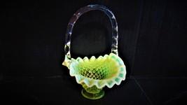 """Vintage Fenton """"Vaseline Topaz Opalescent Hobnail Basket - $49.99"""