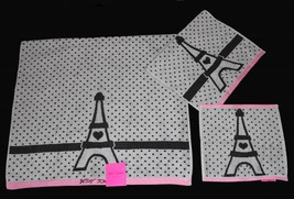 3 Blue Betsey Eiffel Tower Polka Dots Grey Pink Bath/Hand/Wash Cloth Towels New - $39.99