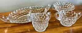 Fostoria American Clear Glass Relish Tray Sugar Bowl Creamer Bowl LOT Vintage - $37.39