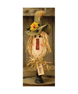 Primitive JACKSON DOLL ON SPINDLE Country Farmhouse Rustic Fall Scarecrow - $56.99