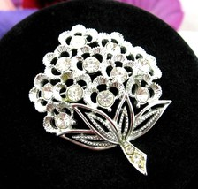 "Sarah Coventry SPARKLE LITES Pin Vintage BROOCH Flower Bouquet 2"" Silver... - $16.99"
