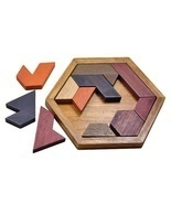 Kids Puzzles Wooden Toys Tangram Wood Geometric Shape  Educational Toys - £7.59 GBP