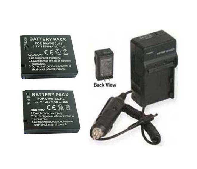 Two 2 Batteries DMW-BCJ13PP DMW-BCJ13E + Charger for Panasonic DMC-LX5 DMC-LX5K - $44.92