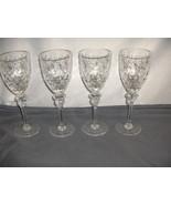 4 Vintage Rogaska Wine Goblets Gallia Cut Crystal Signed Retired Gray Fl... - $113.85