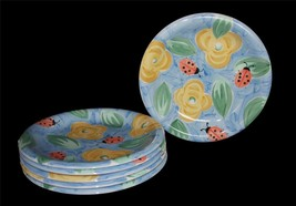 6 Salute Ladybugs Flowers Handpainted Brush Stroke Thick Dinner Plates NWOT - $56.99