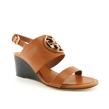 New Tory Burch Size 7 Metal Miller Wedge Veg Tan Logo Sandals Shoes - $168.00