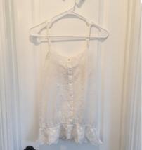 White Embroidered BOHO CAMI PEASANT TOP sz S - $24.00