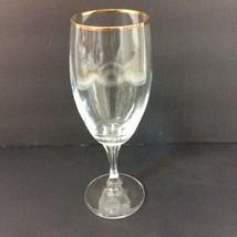 Gorham Crystal Andante Tall Gold Rim Wine Glass Goblet  - $18.69