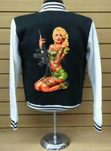 Varsity Collage Baseball BLACK/WHITE Fleece Jacket Monroe Army Girl On Back - $29.69+