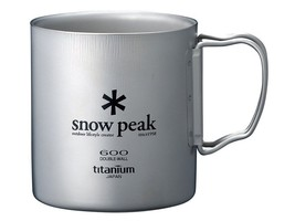 Snow Peak Titanium Double Wall Cup 600 with Folding Handle MG-054R - $117.29 CAD
