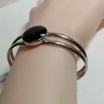Vintage 925 Sterling Silver Black Onyx Stone Cuff Bangle Bracelet   22.8... - $39.60