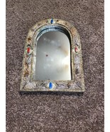 Vintage Ornate Arched Silver & Gold Wall Accent Mirror Agate Stones Metal - $98.99