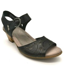 Earth Women Carson Westport Leather Wedge Slingback Sandals Black Size 9... - $37.99