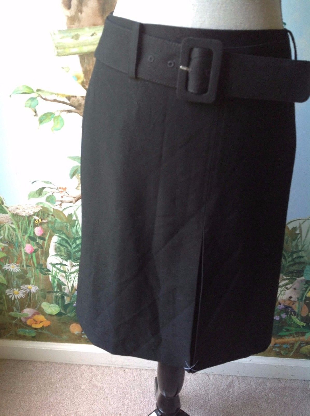 Ann Taylor Women Front Pleat Black Skirt Back Zipper Size 2